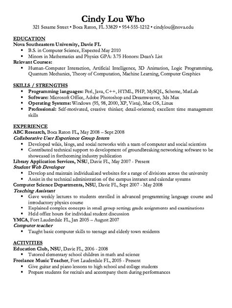Computer Science Resume Sample -    resumesdesign computer - resume for computer science