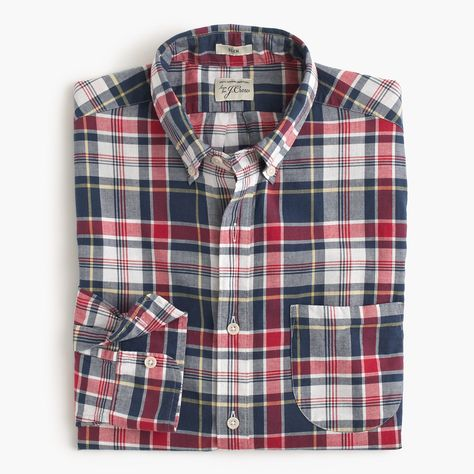 720817e7afc J.Crew Mens Tall Madras Shirt In Navy Ink Plaid (Size XL Tall ...