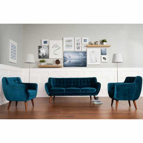 Enjoyable Portofino Home Nelson 3 Piece Fabric Set Blue Living Room Cjindustries Chair Design For Home Cjindustriesco