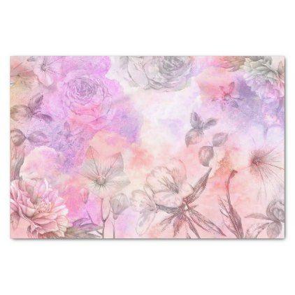 Pretty Abstract Floral Watercolor Design Tissue Paper Zazzle Com