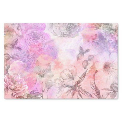 Pretty Abstract Floral Watercolor Design Tissue Paper Zazzle Com