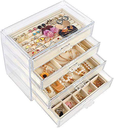 Best Seller Mebby Acrylic Jewelry Box 4 Drawers Velvet Jewelry Organizer Earring Necklace Ring Bracelet Clear Jewelry Display Storage Case Woman Beige Onli Jewelry Organization Acrylic Jewellery Jewellery Storage