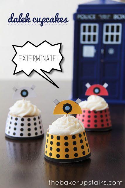 Adorable and tasty Dalek cupcakes to celebrate the Doctor Who premiere! // the baker upstairs http://www.thebakerupstairs.com