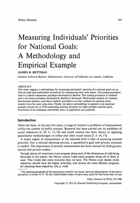 Priorities For National Goals Methodology And Empirical Example