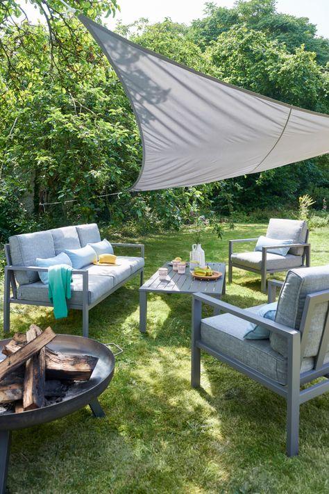 Salon Bas De Jardin Blooma Nymark Aluminium Gris 5 Personnes En 2020 Mobilier Jardin Canape Jardin Et Amenagement Exterieur