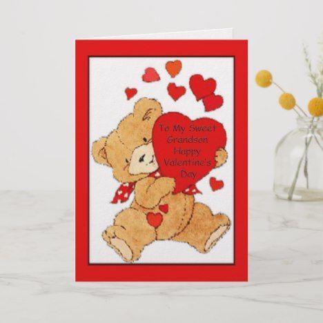 Valentine S Day Card For Grandson Zazzle Com Valentines Greetings Valentine Day Cards Valentines Day For Boyfriend