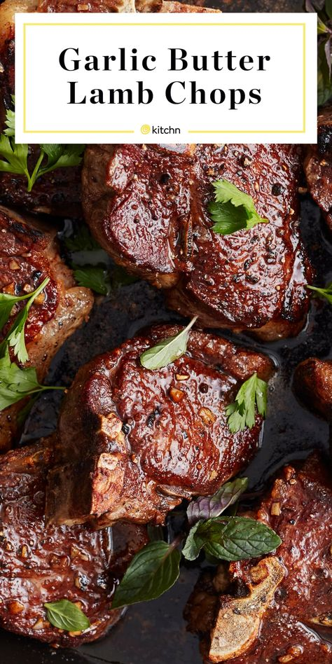 Lamb chops are sizzled in garlic butter and topped with fresh herbs for an easy, classic recipe the whole family will enjoy. Lamb Chop Recipes, Meat Recipes, Dinner Recipes, Cooking Recipes, Healthy Recipes, Easy Lamb Recipes, Skillet Recipes, What's Cooking, Healthy Food