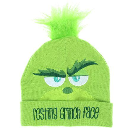 be8158940 Dr. Seuss The Grinch Movie Resting Grinch Face Adult Knit Beanie Hat ...