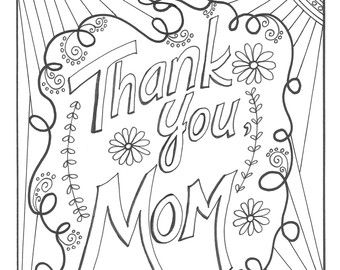 Thank You Mom Coloring Page Mothers Day Coloring Pages Colouring Pages Etsy Uk