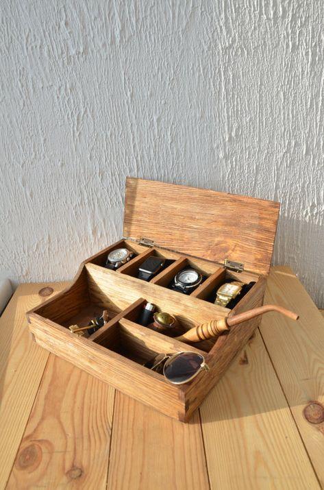Ready to ship Desk organizer Wood organizer Rustic Men's