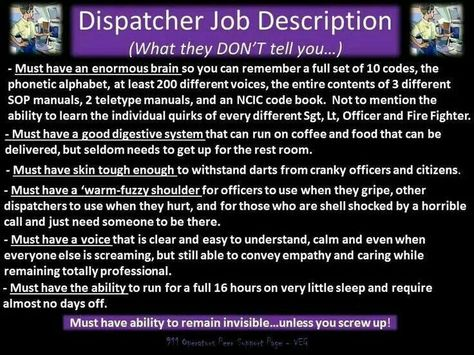 Ode to a dispatcher This actually brings it home Humor and - probation officer job description