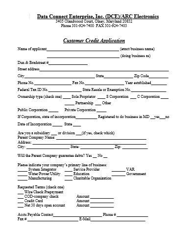 Credit Application Doc Form finance Pinterest - credit application forms