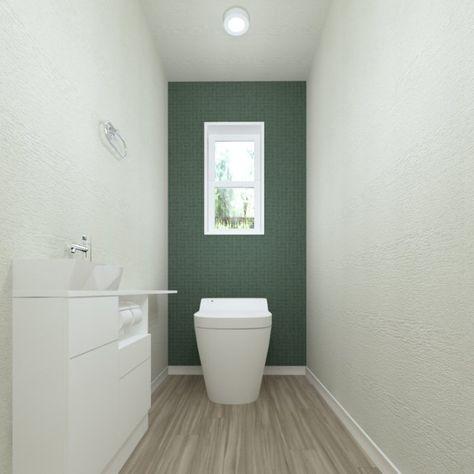 ホワイトとモスグリーンでシンプルにまとめました 清潔感のあるトイレ