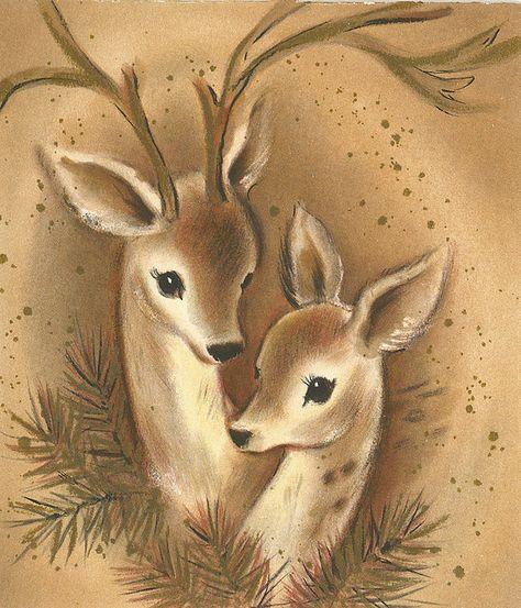 Хвойными, открытка олененок эскиз