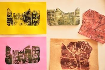 Estéfi Machado printing with styrofoam art for kids