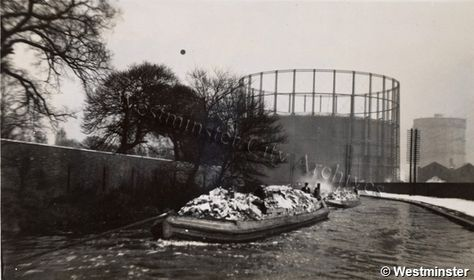 """Caption: """"Black and white photograph of Sabey's waste disposal barges at Willesden"""" #London #canal #Boat"""