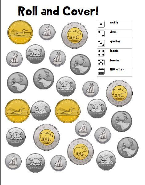 Canadian Coins Roll And Cover Game Canadian Coins Cover Game Roll Money Math Math Centers Kindergarten Canadian Coins Canadian money worksheets grade pdf