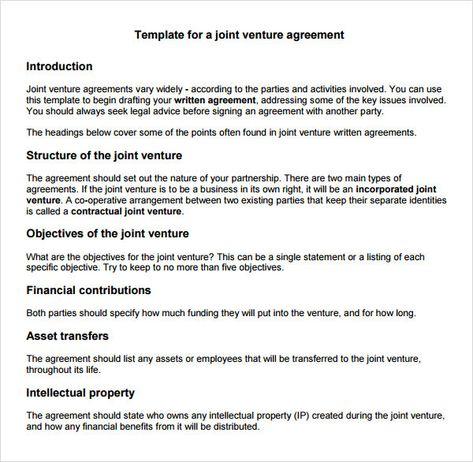Joint Venture Agreement Sample Pdf Template Pinterest
