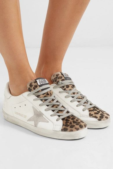 247cb16f0 Golden Goose Deluxe Brand | Superstar leopard-print calf hair, distressed  leather and suede sneakers | NET-A-PORTER.COM