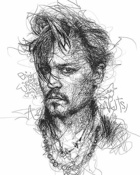 @ #Repost @vince_low ・・・ Artist : @vince_low . #johnnydepp #scribble #drawing