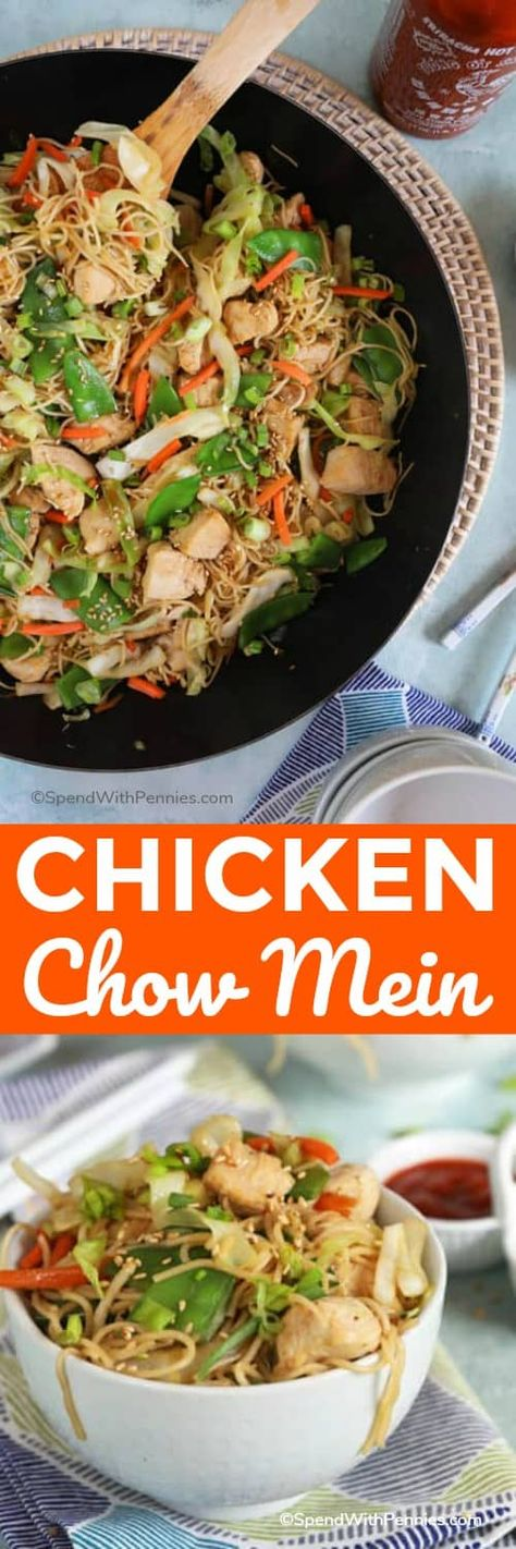 Easy Chicken Chow Mein is a take out classic you can make at home in 30 minutes! #spendwithpennies #chickenchowmein #chowmein #chinesetakeout #homemade #chicken #withchicken