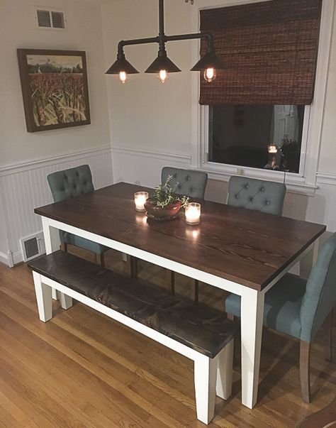 Farmhouse Table Emmorworks Dark Wood With White Legs Matching Bench Grey Upholstere Kitchen Table Wood Farmhouse Dining Room Table Farmhouse Dining Table