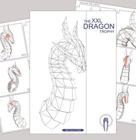 Paper Craft Dragon Head Papercraft Trophy Dragon Mask DIY 3D   Etsy
