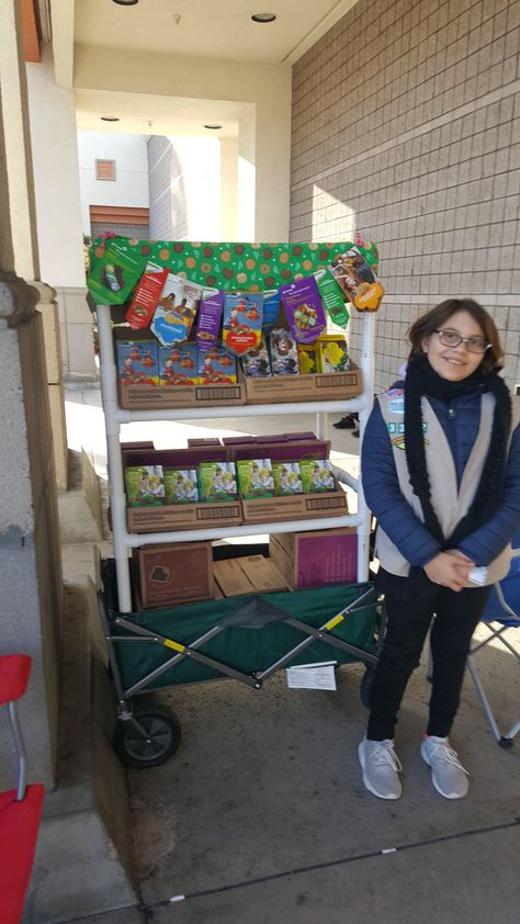 Our rolling cookie booth Girl Scout Law, Girl Scout Leader, Daisy Girl Scouts, Girl Scout Cookie Image, Girl Scout Cookie Sales, Girl Scout Daisy Activities, Girl Scout Promise, Girl Scout Bridging, Girl Scout Cookies Recipes