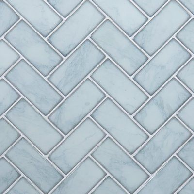 Ctgbrands 10 X 10 Pvc Peel Stick Mosaic Tile Herringbone Wall Tile Blue Herringbone Backsplash Herringbone Wall