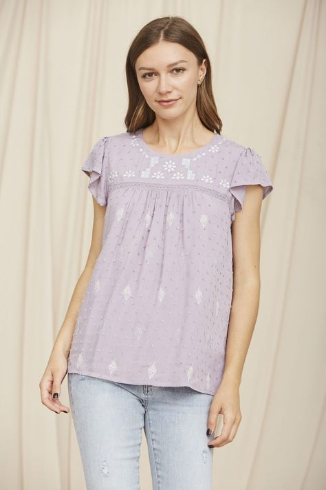 Lavender embroidery top - S