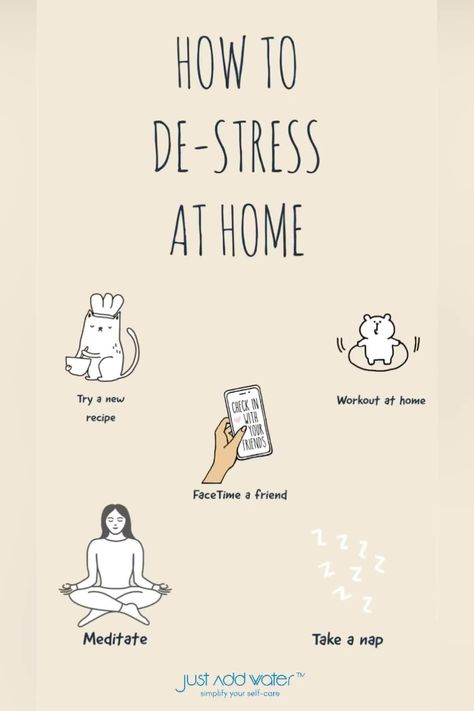 A few ways you can de-stress right in your own home! Some of the physical signs that your stress levels are too high include: Pain or tension in your head, chest, stomach, or muscles. Your muscles tend to tense up when you're stressed, and over time this can cause headaches, migraines, or digestive problems. #stressrelief #stress #relax #selfcare #anxietyrelief #relaxation #anxiety #meditation #wellness