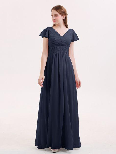 d582374a54f Babaroni Jacqueline Cap Sleeves Chiffon Long Bridesmaid Dress