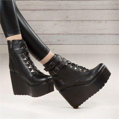 Buviga Siyah Deri Dolgu Topuklu Bot Topuklular Bayan Ayakkabi Bot