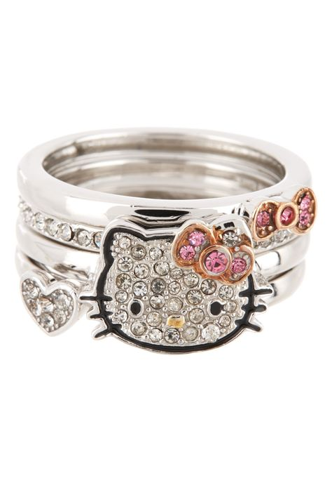 Crystal Pave Hello Kitty Ring Stack Set