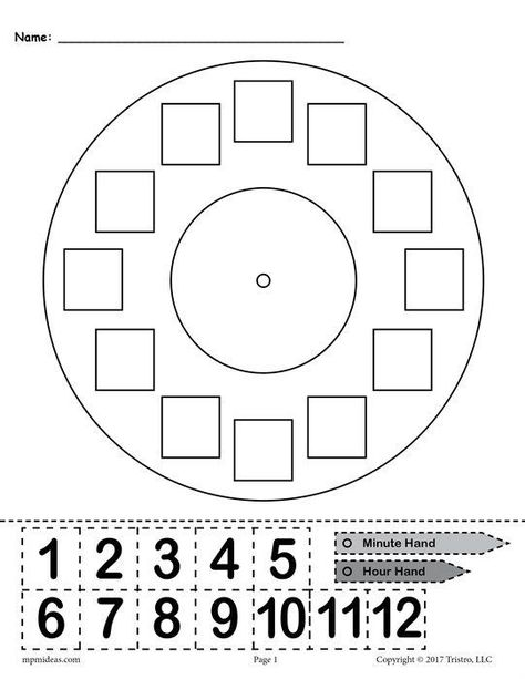 """Printable """"Build a Clock"""" Telling Time Activity! This free telling time worksheet is great for kindergartners, graders, and graders. The printable worksheet includes a clock face, an hour and minute hand, and hours that can be cut out. Clock Worksheets, Free Kindergarten Worksheets, 1st Grade Worksheets, Free Preschool, 1st Grade Math, Money Worksheets, Kindergarten Math, Second Grade, Activities For 1st Graders"""