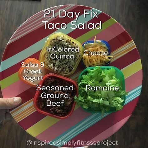 2 Day Fix Taco Salad: Use guac or cheese for Blue add purple salsa - LETTUCE add cherry tomatoes