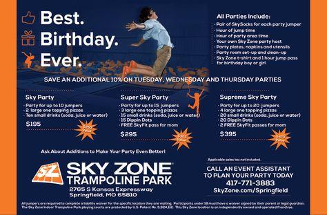 Sky Zone Trampoline Park Springfield Birthday Parties fun things