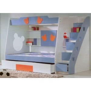 Elegant Royal Blue Bunk Bed With Pullout