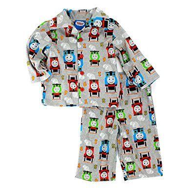 Thomas /& Friends Toddler Boys Blue Flannel Sleepwear Coat Style Pajama Set 2T