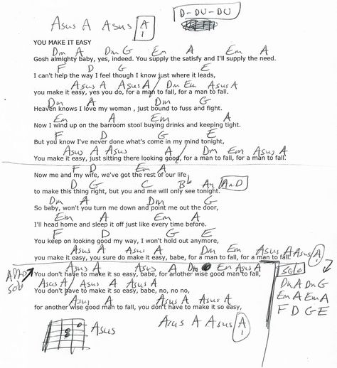 You Make It Easy James Taylor Guitar Chord Chart Real Key 2018