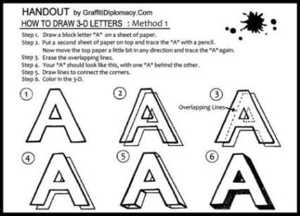 Student Guide - How to Draw 3-D Letters: Method #1 | Cool for school