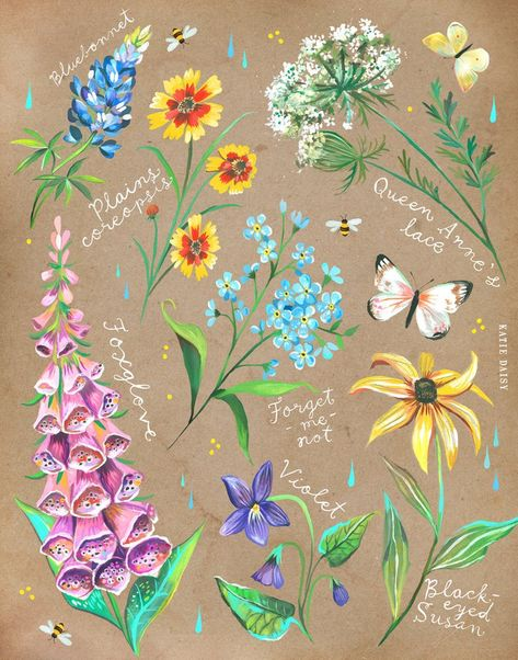 Wildflower Chart on Kraft Katie Daisy Art Floral Painting | Etsy