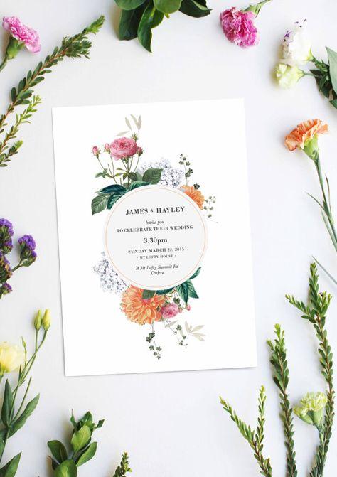 Vintage Botanical Wedding Invitations Wedding Stationery by SailandSwan on Etsy