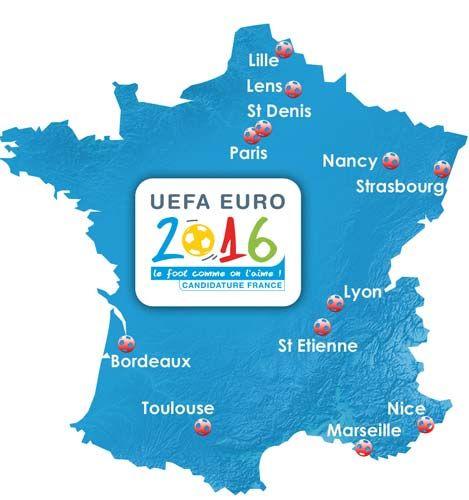 Carte Des Stades De L Euro2016 Carte De France St Etienne