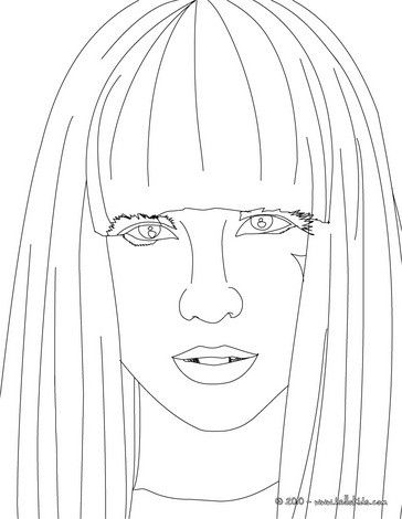 Lady Gaga Face View Close Up Coloring Page More Lady Gaga