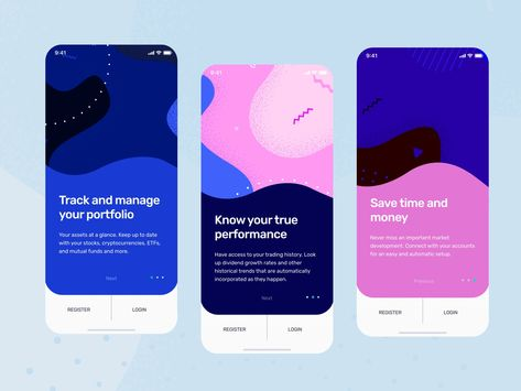 Onboarding screens for Investment app