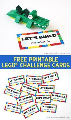 For the BOYS! Encourage Kids to with LEGO with Free Printable Challenge Cards at artsy Lego Activities, Lego Games, Lego Building Games, Counseling Activities, Therapy Activities, Lego Challenge, Challenge Cards, Lego Duplo, Lego Ninjago