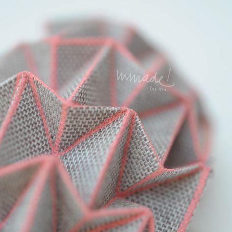 Wearable origami. Hand screen printed: Beige Leti. via Etsy.