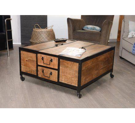 table basse carre en metal et bois