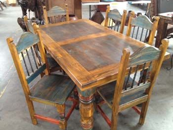 Hickory Double Pedestal Table  Southwestern Rustic Spanish Unique Western Style Dining Room Sets Design Inspiration